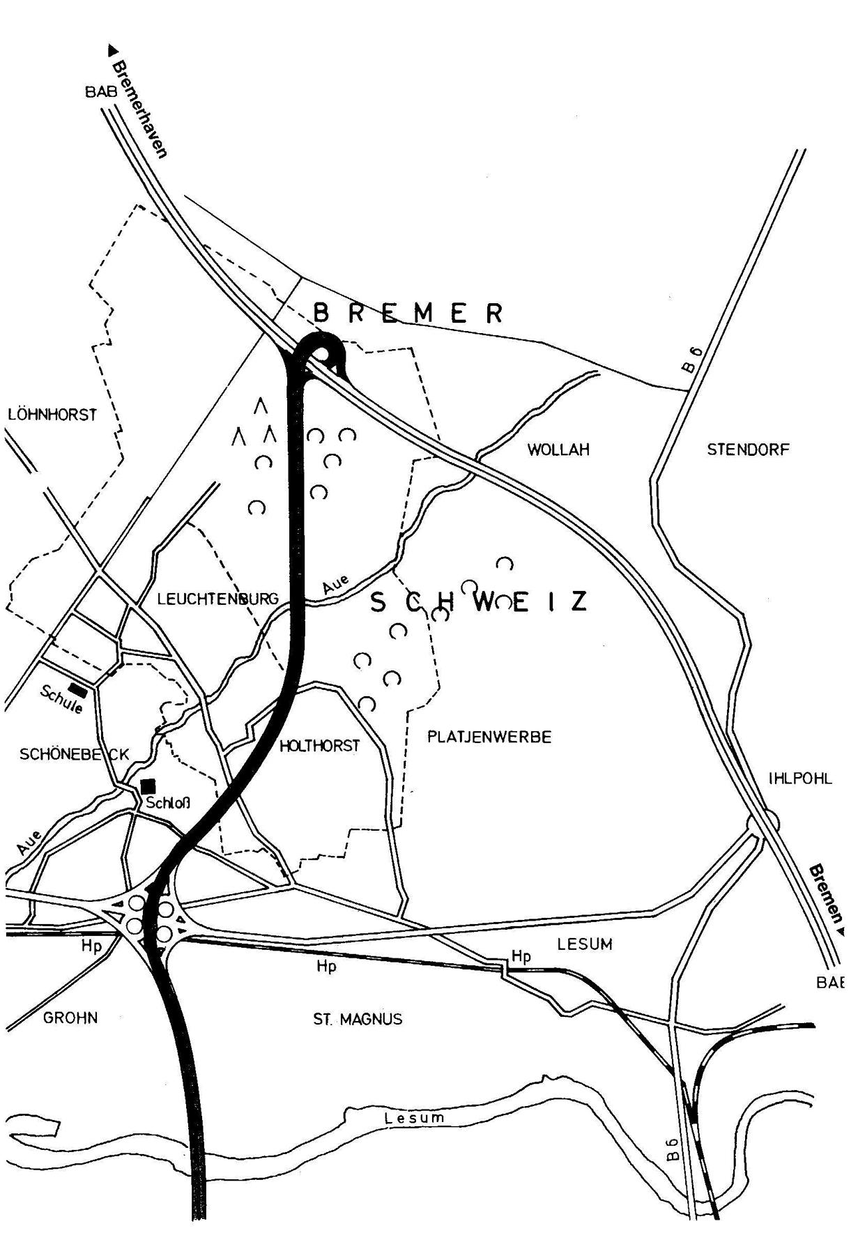 Diese geplante Autobahnquerspange war Anlass zur Gründung der Aktionsgemeinschaft Bremer Schweiz