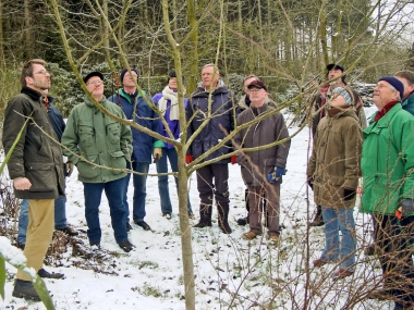 Beim Baumschnittlehrgang im Winter lernen wir, Obstbäume richtig zu schneiden